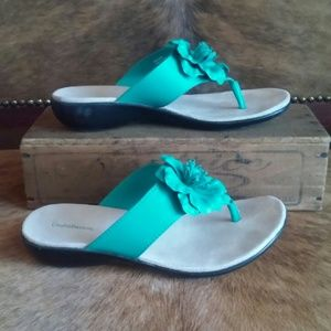 Teal Croft&Barrow Floral Sandals, Size 6